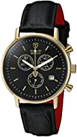 Detomaso Men's Quartz Watch MILANO Chronograph Gold/Black DT1052-K with Leather Strap