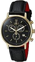 Detomaso Men's Quartz Watch MILANO Chronograph Gold/Black DT1052-K with Leather Strap