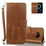 """Galaxy S8 Wallet Cover, Aeeque® Brown Dreamcatcher Design and Premium PU Leather Bookstyle Flip Stand Phone Case for Samsung Galaxy S8 5.8"""" with Magnetic Clasp / Hand Strap"""
