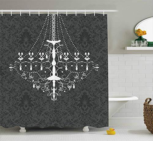 Viktorianischen Design Kronleuchter (gwegvhvg Vintage Duschvorhang viktorianischen barocken stilisierten Kronleuchter auf Damast Hintergrund Rokoko Design Stoff Badezimmer Dekor Set mite grau weiß)