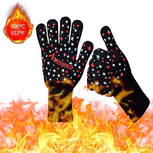 Ourine Isolierhandschuhe, 1 Paar rutschfeste Silikon-Isolierhandschuhe für die Küche Hochtemperaturbeständige Grillhandschuhe Wärmedämmhandschuhe rot & blau & schwarz