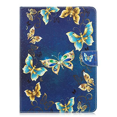 Mioc Hülle für Apple iPad Pro 9.7 2016, Premium Ledertasche Schutzhülle mit Ständer und Kartensteckplatz, Hunderte von personalisierten Mustern für Ihr Design, Schmuck Schmetterling