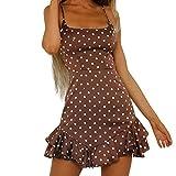 Conquro-vestidos de Lunares con Estampado de Lunares para Mujer Vestido de Pajarita con Dobladillo con Volantes Falda de una línea Bohemio Suelta de Vacaciones Ropa de Playa