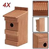 BALLSHOP 4 x Nistkästen für die Vögel, Nistkasten Vogelhaus aus Holz