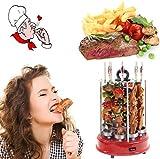 Grill Elektroherd Haushalt Rauchlosen Automatischen Rotierenden Kebab Edelstahl Vertikalen Ofen 360 Grad Automatische Rotation 1500 Watt,Silver