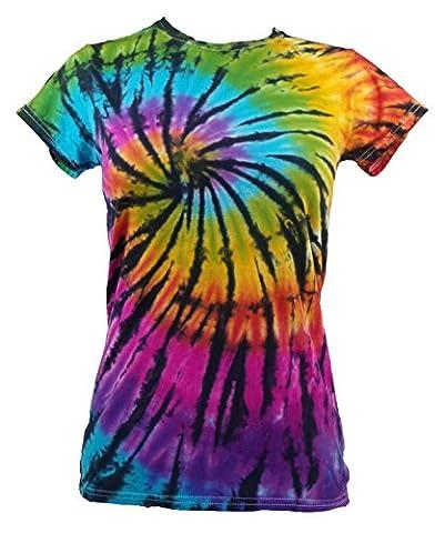Tie Dye Womens Contrast Rainbow / Black Spiral T-shirt Girly T-Shirt M