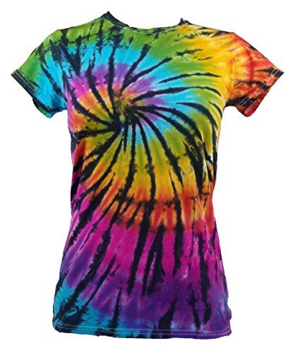 Tie Dye Womens Contrast Rainbow/Black Spiral T-Shirt Girly T-Shirt L - Womens Tie Dye