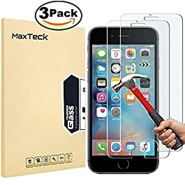 MaxTeck [3 Pack] iPhone 6 6S 7 8 Screen protector, 0.26mm 9H Tempered Shatterproof Glass Screen Protector Anti-Shatter Film for iPhone 6 6S 7 8 4.7″ inch [3D Touch Compatible], iPhone 8 (Pack of 3)
