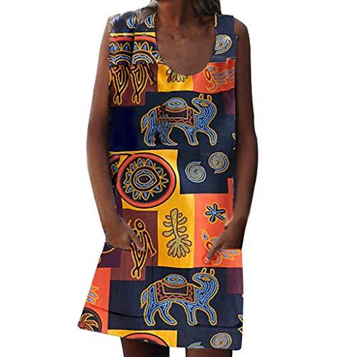 LeeMon Kleid Damen Retro Ärmellos Drucken Kleid? LeeMon Frauen Sommer O Hals Vintage Print Ärmellose Kleider Reißverschlusstasche Kleider