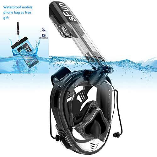Masque de Plongée Schnorkel Plein Visage 180°avec Support GoPro Détachable, Kit de Plongée avec Tube Respiratoire Pliable Amélioré Technologie Anti-Brouillard et Anti-Fuite - Grande Taille (Noir)