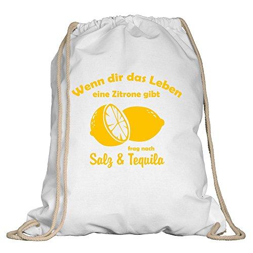 Shirtdepartment Turnbeutel - Wenn dir das Leben eine Zitrone gibt - von SHIRT DEPARTMENT, weiss-gelb (Zitronen Gibt-shirt Dir Leben Das)