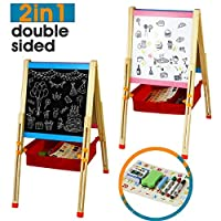 Nuheby Kids Art Easel Wooden Easel Stand Magnetic Adjustable Double Sided Board, Fun Educative Learning Pretend Play Game Toy for Boys Girls 3 4 5 6