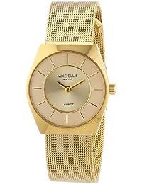 Mike Ellis New York L1126AGM/1 - Reloj analógico de cuarzo para mujer, correa de acero inoxidable chapada en color dorado