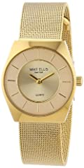 Idea Regalo - Mike Ellis New York - Orologio da polso donna, acciaio inossidabile, colore: oro