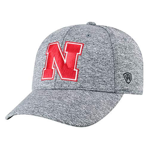 Top of the World NCAA Nebraska Cornhuskers Men's Adjustable Steam Charcoal Icon Hat, Grey Big Bill Strap