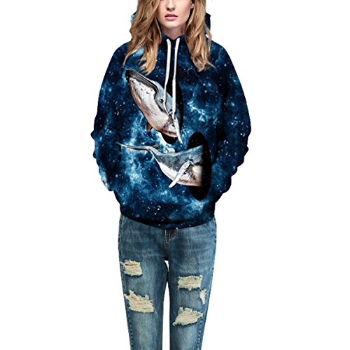Sweatshirt Hoodies 3D Imprimer Cordon À Capuche À Manches Longues Casual Jumper Avec Grande Poche Pour Hommes Femmes Couples Baleine Blue