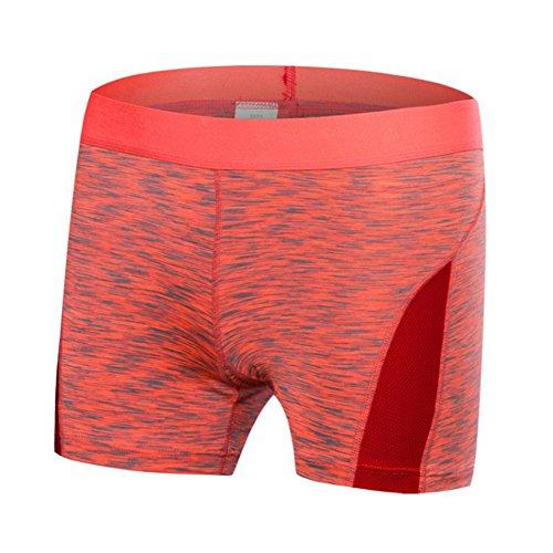ESHOO Femmes Shorts Sport Yoga Fitness Courir Sous-vêtements Gym Compression Rouge