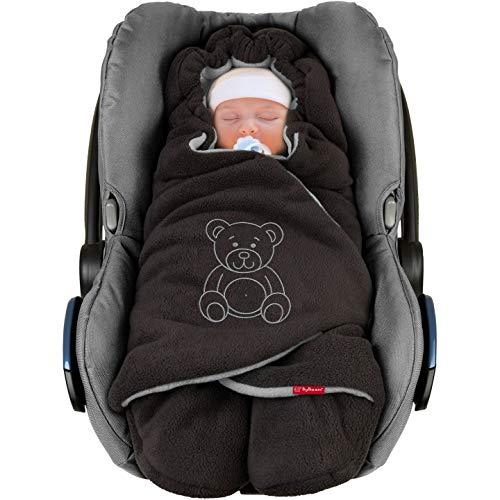 """ByBoom - Baby Winter-Einschlagdecke \""""Das Original mit dem Bären\"""", Universal für Babyschale, Autositz, z.B. für Maxi-Cosi, Römer, für Kinderwagen, Buggy oder Babybett, Farbe:Anthrazit/Grau"""