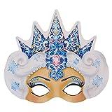 Maske Eiskönigin, 27,4 x 24,7 cm, mit Gummiband, Set mit 5 Stück, aus Karton