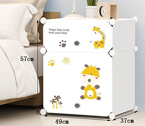 Flashing-DIY Cabinet de lit simple moderne avec portes, résine multifonction Cabinet de lit en plastique PVC, casiers simples Mini armoires de rangement avec des autocollants ( taille : 57*49*37cm )