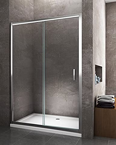 Porte de douche ouverture coulissante pour installation en niche 105min max 110profil Chrome Cristal trempé verre 6mm easyclean anti-calcaire