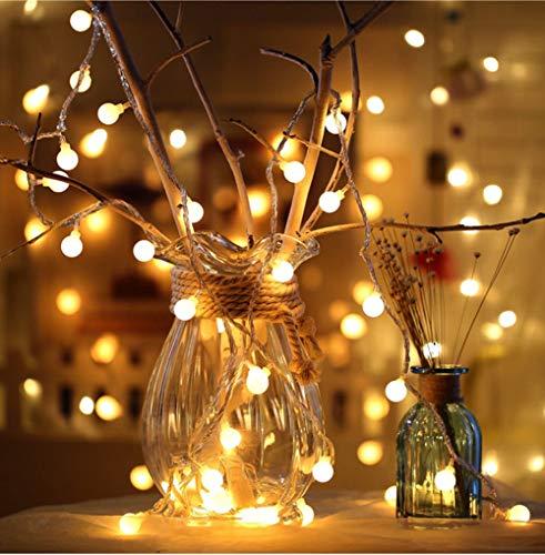 Wondder Chaude Blanc Boule Feux De Lumières, Étanche Fée Lumières À Piles Lumières pour Bar Maison De Vacances De Mariage Décoration De Noël Intérieur Extérieur Fournitures Décoratives (3M 20LEDs)