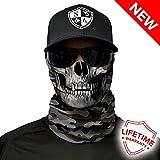 SA Company Écharpe-tube/foulard/bandana/masque polyvalent Plus de 40motifs disponibles En tissu Indice de protection solaire 40, Grey Military Camo Skull...