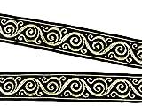 10m Keltischer Borte Webband 35mm breit Farbe: Schwarz-Gold von 1A-Kurzwaren Si42-swgo-35