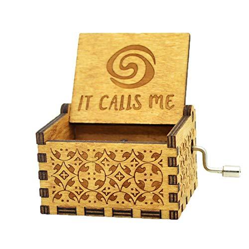 Moana Spieluhr Holz Gravierte Geschenk Spieluhr Handkurbel Moana Spieluhr Für Kinder, Dekoration Handwerk(it Calls me)