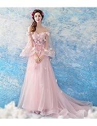 e07cf090f3 YT-RE Robe de Mariée sans Bretelles Rose Perspective Papillon Manches Robe  Traîne Tulle Dentelle