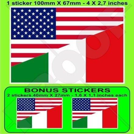 Usa stati uniti d' America & bandiera dell' Italia, American & Italian 10,2cm (100mm) adesivo in vinile, decalcomania X1+