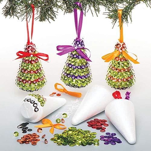 Baker ross kit di decorazioni con alberi di natale in paillettes (confezione da 3) per creazioni fai da te e decorazioni natalizie per bambini