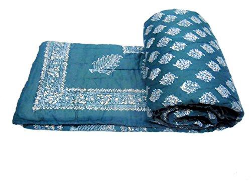 Avighna jaipuri Beautiful Gold printed 100% cotton Single bed Quilts/Razai Size 60...