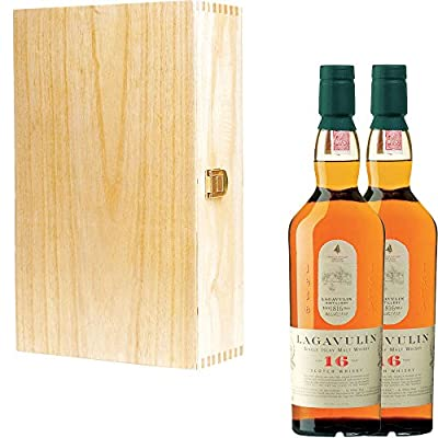 2 x Lagavulin 16 Year Old Single Malt Scotch Whisky in Tung Wood Gift Box With Handcrafted Gifts2Drink Tag