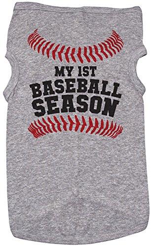 Baseball Shirt für Hunde/My First Baseball Season/Grau Puppy Tee/Sport, 2XL, Grau Meliert -