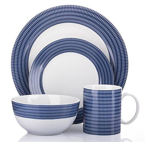 16 Piece Blue Linear Dinner Set