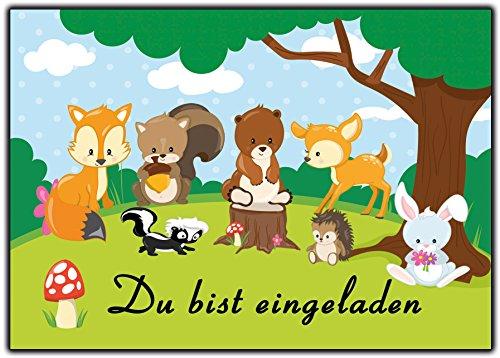 EInladungskarten Waldtiere wilde Tiere im Wald Einladung mit Reh, Eichhörnchen, Fuchs, Hase, Kaninchen, Pilz, Bär - 12 Stück