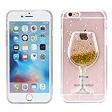 FroFine Coque iPhone 6S Silicone, 3D Etui iPhone 6 Housses Étuis Téléphones Portables Verre de Vin Motif Glitter Liquid Sable Souple Transparente Flottant Sables Mouvant Anti Choc Case (Or 1)
