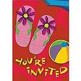 8Tropical Hawaii-Sun Fun Flip Flops Einladungskarten mit Umschlägen