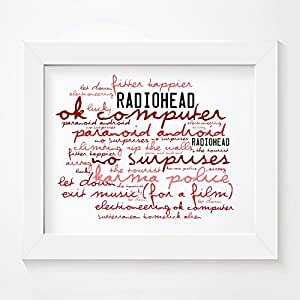 `Zephyr` Art Print - RADIOHEAD - OK Computer - Signed & Numbered Limited Edition Typography Unframed 10x8 Inch Album Wall Art Print - Song Lyrics Mini Poster by LISSOME Art Studio