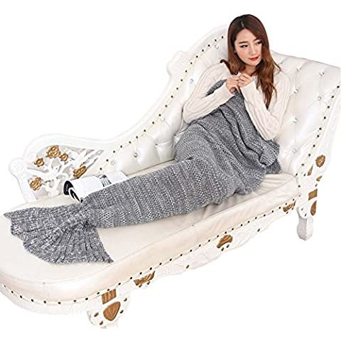 YunNasi Sirenetta coda a mano all' uncinetto coperta per adulti, Carino Regali, Piedi Go in Pinne, Coperta in morbido cotone super divertente Cocoon, Grey, Thin adults 76''x35.4'' - All'uncinetto Palle