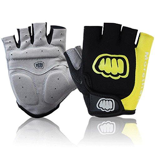 DHH Seide Mountain Bike Riding Half bezieht Sich auf Fitness Outdoor Sport Kurze Handschuhe, Yellow, XXL