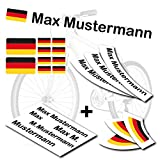 style4Bike TOP Namensaufkleber 2er Set inkl. Deutschland Flagge als Aufkleber Sticker Fahrrad Auto | S | S4B0177
