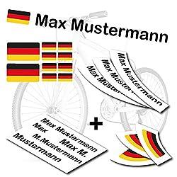 style4Bike TOP Namensaufkleber 2er Set inkl. Deutschland Flagge als Aufkleber Sticker Fahrrad Auto   M   S4B0177