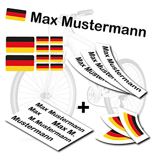 style4Bike TOP Namensaufkleber 2er Set inkl. Deutschland Flagge als Aufkleber Sticker Fahrrad Auto | M | S4B0177