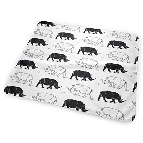 Black U White Rhinos Bed Pad Washable Waterproof Urine Pads for Baby Toddler Children and Adults 31.5 X 25.5 inch