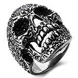 MunkiMix Acero Inoxidable Anillo Ring Negro El Tono De Plata Cráneo Calavera Flor Flower Talla Tamaño 17 Hombre