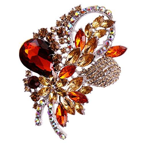 Diamant Blumen Form Brosche Nadel Anstecker Brooch Geschenk Schmuck - Braun