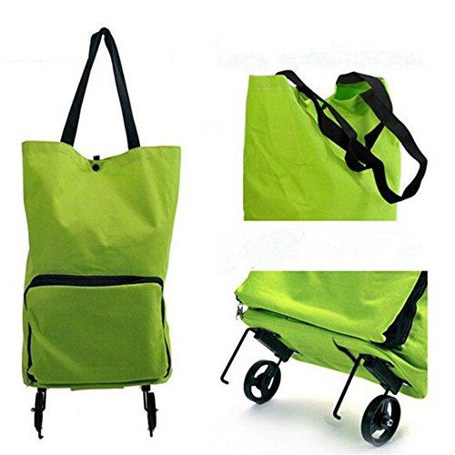 JOYOOO Schultertasche mit Rädern Trolley Tasche Einkaufstrolley, faltbar, Grün (Rv-tasche Faltbare)