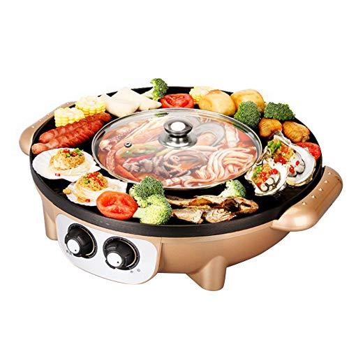 YJIUJIU Parrilla BBQ eléctrica, Parrilla eléctrica Hot Pot Antiadherente Cocina Placa Caliente...